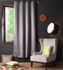 Lushomes Metal Polyester 90 x 54 Inch Plain Blackout Door Curtain with 8 Metal Eyelets  -1 Piece