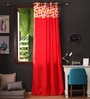 Multicolour Cotton 108 x 54 Inch Basic Printed Bloomberry Long Door Curtain with 8 Eyelets & Printed Tiebacks -1 Piece by Lushomes