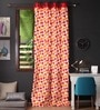 Lushomes Multicolour Cotton 108 x 54 Inch Basic Printed Long Door Curtain with 8 Eyelets & Plain Tiebacks  -1 Piece
