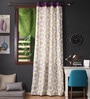 Lushomes Multicolour Cotton 108 x 54 Inch Bold Printed Long Door Curtain with 8 Eyelets & Plain Tiebacks  -1 Piece