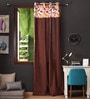Lushomes Multicolour Cotton 108 x 54 Inch Leaf Printed Bloomberry Long Door Curtain with 8 Eyelets & Printed Tiebacks  -1 Piece