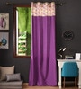 Multicolour Cotton 108 x 54 Inch Printed Bloomberry Long Door Curtain with 8 Eyelets & Printed Tiebacks -1 Piece by Lushomes