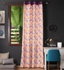 Lushomes Multicolour Cotton 108 x 54 Inch Shadow Printed Long Door Curtain with 8 Eyelets & Plain Tiebacks - Set of 2
