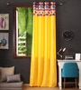 Multicolour Cotton 108 x 54 Inch Titac Printed Bloomberry Long Door Curtain with 8 Eyelets & Printed Tiebacks -1 Piece by Lushomes