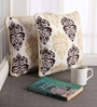 Lushomes Multicolour Cotton 12 x 12 Inch Earth Printed Cushion Covers with Co-Ordinating Cord Piping - Set of 2