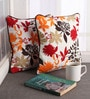Multicolour Cotton 12 x 12 Inch Leaf Printed Cushion Covers with Co-Ordinating Cord Piping - Set of 2 by Lushomes
