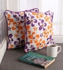 Lushomes Multicolour Cotton 12 x 12 Inch Shadow Printed Cushion Covers with Co-Ordinating Cord Piping - Set of 2