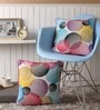 Multicolour Cotton 16 x 16 Inch Circles Printed Cushion Covers with Co-Ordinating Cord Piping - Set of 2 by Lushomes