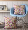 Multicolour Cotton 16 x 16 Inch Rain Printed Cushion Covers with Co-Ordinating Cord Piping - Set of 2 by Lushomes