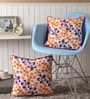 Multicolour Cotton 16 x 16 Inch Shadow Printed Cushion Covers with Co-Ordinating Cord Piping - Set of 2 by Lushomes