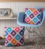 Multicolour Cotton 16 x 16 Inch Square Printed Cushion Covers with Co-Ordinating Cord Piping - Set of 2 by Lushomes