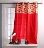 Multicolour Cotton 60 x 54 Inch Basic Printed Bloomberry Windows Curtain with 8 Eyelets & Printed Tiebacks -1 Piece by Lushomes