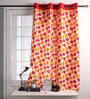 Lushomes Multicolour Cotton 60 x 54 Inch Basic Printed Windows Curtain with 8 Eyelets & Plain Tiebacks  -1 Piece