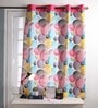 Lushomes Multicolour Cotton 60 x 54 Inch Circles Printed Windows Curtain with 8 Eyelets & Plain Tiebacks  -1 Piece