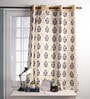 Multicolour Cotton 60 x 54 Inch Earth Printed Windows Curtain with 8 Eyelets & Plain Tiebacks -1 Piece by Lushomes