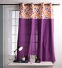 Lushomes Multicolour Cotton 60 x 54 Inch Shadow Printed Bloomberry Windows Curtain with 8 Eyelets & Printed Tiebacks  -1 Piece