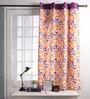 Lushomes Multicolour Cotton 60 x 54 Inch Shadow Printed Windows Curtain with 8 Eyelets & Plain Tiebacks  -1 Piece