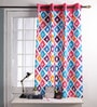 Multicolour Cotton 60 x 54 Inch Square Printed Windows Curtain with 8 Eyelets & Plain Tiebacks -1 Piece by Lushomes