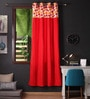 Multicolour Cotton 90 x 54 Inch Basic Printed Bloomberry Door Curtain with 8 Eyelets & Printed Tiebacks -1 Piece by Lushomes