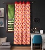 Lushomes Multicolour Cotton 90 x 54 Inch Basic Printed Door Curtain with 8 Eyelets & Plain Tiebacks  -1 Piece