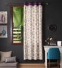 Lushomes Multicolour Cotton 90 x 54 Inch Bold Printed Door Curtain with 8 Eyelets & Plain Tiebacks - Set of 2