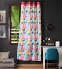 Lushomes Multicolour Cotton 90 x 54 Inch Circles Printed Door Curtain with 8 Eyelets & Plain Tiebacks  -1 Piece