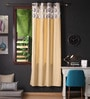 Multicolour Cotton 90 x 54 Inch Earth Printed Bloomberry Door Curtain with 8 Eyelets & Printed Tiebacks -1 Piece by Lushomes