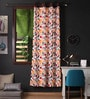 Lushomes Multicolour Cotton 90 x 54 Inch Leaf Printed Door Curtain with 8 Eyelets & Plain Tiebacks  -1 Piece