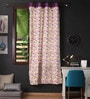 Multicolour Cotton 90 x 54 Inch Rain Printed Door Curtain with 8 Eyelets & Plain Tiebacks -1 Piece by Lushomes