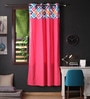 Lushomes Multicolour Cotton 90 x 54 Inch Square Printed Bloomberry Door Curtain with 8 Eyelets & Printed Tiebacks - Set of 2
