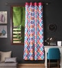 Lushomes Multicolour Cotton 90 x 54 Inch Square Printed Door Curtain with 8 Eyelets & Plain Tiebacks  -1 Piece