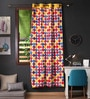 Lushomes Multicolour Cotton 90 x 54 Inch Titac Printed Door Curtain with 8 Eyelets & Plain Tiebacks - Set of 2