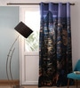 Lushomes Multicolour Polyester 54 x 90 Inch Digitally Printed London Blackout Door Curtains  -1 Piece