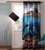 Lushomes Multicolour Polyester 54 x 90 Inch Digitally Printed Marine Blackout Door Curtains - Set of 2