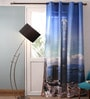 Lushomes Multicolour Polyester 54 x 90 Inch Digitally Printed Skyscraper Blackout Door Curtains  -1 Piece