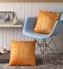 Orange Cotton 16 x 16 Inch Cushion Covers with Gold Foil Print - Set of 2 by Lushomes