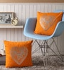 Orange Cotton 16 x 16 Inch Cushion Covers with Silver Foil Print - Set of 2 by Lushomes