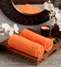 Orange Cotton 16 x 26 Hand Towel - Set of 2 by Lushomes