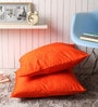 Lushomes Orange Polyester 24 x 24 Inch Embossed Blackberry Cushion Cover - Set of 2
