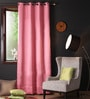 Lushomes Pink Polyester 108 x 54 Inch Plain Blackout Long Door Curtain with 8 Metal Eyelets - Set of 2