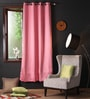 Lushomes Pink Polyester 90 x 54 Inch Plain Blackout Door Curtain with 8 Metal Eyelets  -1 Piece