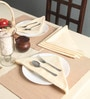 Lushomes Plain Off-White Cotton Table Napkins - Set of 6