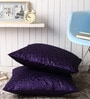 Purple Polyester 24 x 24 Inch Embossed Blackberry Cushion Cover - Set of 2 by Lushomes