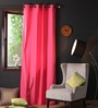 Lushomes Raspberry Cotton 108 x 54 Inch Plain Long Door Curtain with 8 Eyelets & Plain Tiebacks  -1 Piece