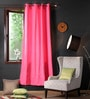 Lushomes Raspberry Cotton 90 x 54 Inch Plain Door Curtain with 8 Eyelets & Plain Tiebacks  -1 Piece