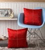 Lushomes Red Blackout Polyester 16 x 16 Inch Cushion Cover with Artistic Stitch - Set of 2