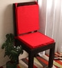 Red Cotton & Foam 16 x 16 Inch Half Panama Chair Pads - Set of 2 by Lushomes