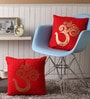 Lushomes Red Cotton 16 x 16 Inch Cushion Covers with Gold Foil Print - Set of 2