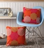 Red Cotton 16 x 16 Inch Spiral Printed Cushion Covers with Co-Ordinating Cord Piping - Set of 2 by Lushomes