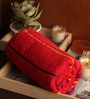 Red Cotton 30 x 60 Bath Towel by Lushomes